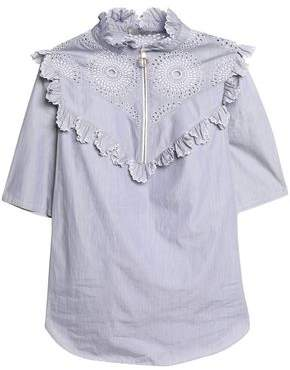 Nina Ricci Ruffle-Trimmed Broderie Anglaise Cotton-Poplin Top