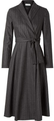 Max Mara Pinstriped Wool-blend Wrap Dress - Gray