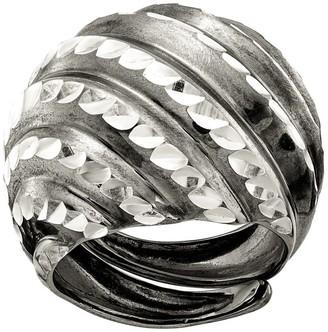 Italian Silver Diamond Cut Domed Adjustable Ring