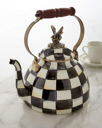 Mackenzie Childs Courtly Check 3-Quart Tea Kettle with Butterfly