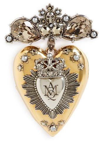 Alexander McQueenWomen's Alexander Mcqueen Heart Locket Brooch