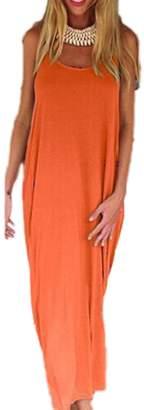 Yacun Women's Sleeveless Backless Summer Maxi Beach Dress L