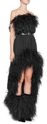 Off-The-Shoulder Belted Feather Dress