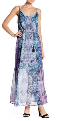 London Times Split Neck Patterned Maxi Dress