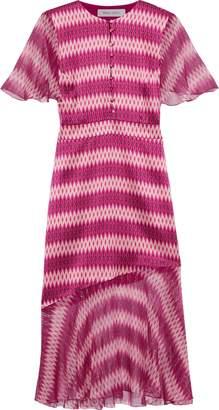 Prabal Gurung Printed Metallic Chiffon-paneled Silk-satin Dress