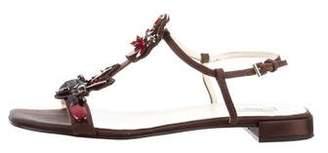 Prada Embellished Ankle Strap Sandals