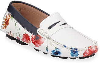 Robert Graham Men's Jardin Slip-On Floral-Print Drivers