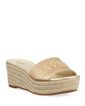 803676c355de MICHAEL Michael Kors Brady Metallic Logo Platform Sandals