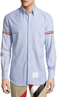 Thom Browne Classic Arm-Stripe Long-Sleeve Oxford Shirt $450 thestylecure.com