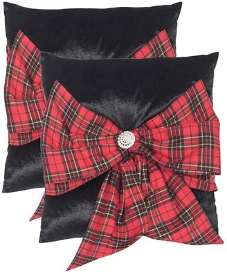 Safavieh Tartan Bow 2-piece Throw Pillow Set