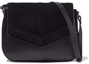 Halston Faux- Suede-Paneled Faux Leather Shoulder Bag
