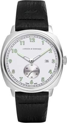 Larsson & Jennings Editor 38mm Watch Silver & White Enamel