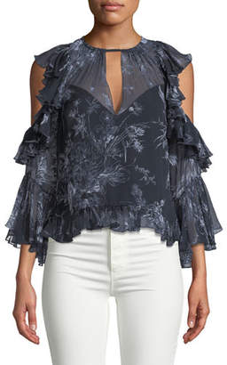 Cinq à Sept Grace Cold-Shoulder Ruffled Silk Blouse