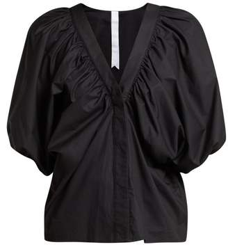 Merlette - Este Puff Sleeve Cotton Blouse - Womens - Black