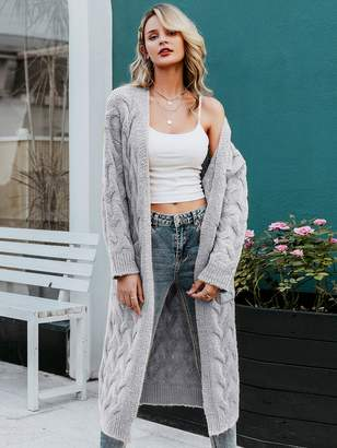Shein Simplee Pocket Front Cable Knit Longline Cardigan