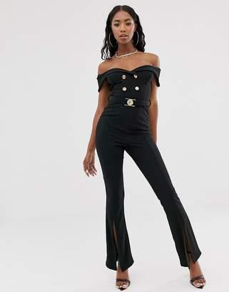 Rare London off shoulder military split front jumpsuit in black