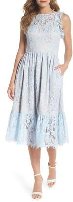 Eliza J Ruffle Lace Midi Dress