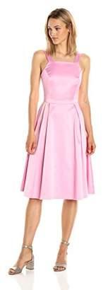 Paris Sunday Women's Square Neckline Sleeveless Sateen Dress