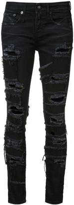 R 13 Alison patch skinny jeans