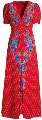 Saloni Lea Floral Polka Dot A-Line Front-Vent Dress