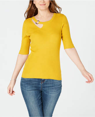 INC International Concepts I.n.c. Cutout Hardware-Embellished Sweater, Created for Macy's