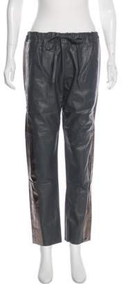 Les Chiffoniers Leather Mid-Rise Pants Grey Leather Mid-Rise Pants