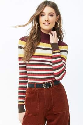 Forever 21 Striped Mock Neck Sweater