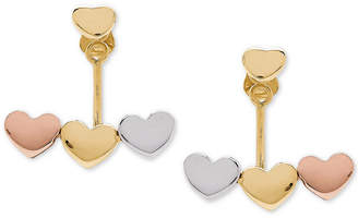 Macy's Tricolor Heart Earring Jackets in 10k Gold, White Gold & Rose Gold