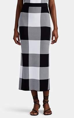 Derek Lam Women's Checked Jacquard-Knit Pencil Midi-Skirt - Black-White