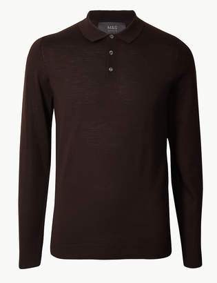 Marks and Spencer Pure Extra Fine Merino Wool Knitted Polo