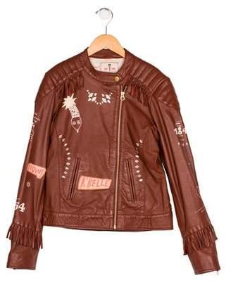 Scotch & Soda Girls' Leather Printed Jacket w/ Tags