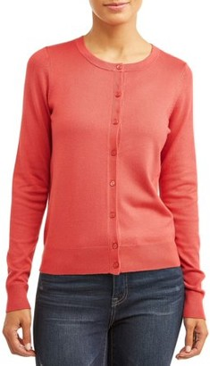 Time and Tru Everyday Crew Neck Cardigan Women's