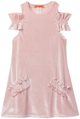 Funkyberry Cold Shoulder Velvet Dress (Toddler & Little Girls)