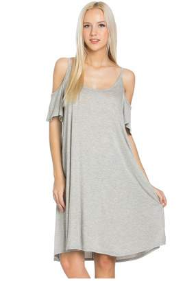My Space Clothing Women's Cold Shoulder Jersey Summer Dress w/Side Pocket (, Heather Grey)