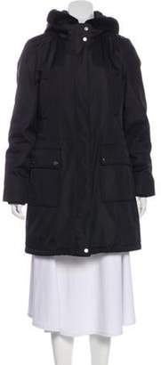 Andrew Marc Hooded Faux Shearling Coat Black Hooded Faux Shearling Coat