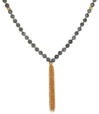 Satya Jewelry Labradorite Gold Plate Lotus Chain Tassel Mala Necklace