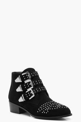 boohoo Pin Stud Western Ankle Boots