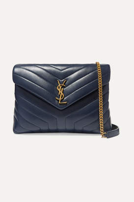 Saint Laurent Loulou Medium Quilted Leather Shoulder Bag - Navy
