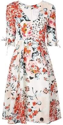 Carolina Herrera V Neck Floral A Line Midi Dress