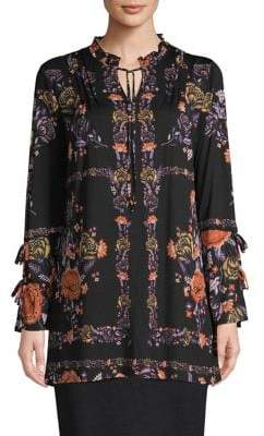Style&Co. Style & Co. Floral-Print Bell-Sleeve Tunic