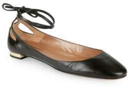 Aquazzura Heart Breaker Tie Ankle Ballet Flats