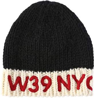 Calvin Klein Logo Embroidered Wool Knit Beanie Hat