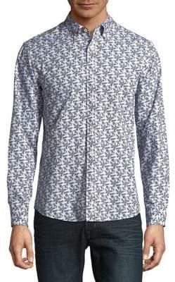 Black & Brown Black Brown Vine-Print Button-Down Shirt