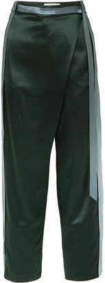 Dion Lee Striped Silk-satin Pants - Army green