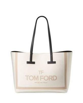 Tom Ford Printed Canvas and Leather Shoulder Tote Bag