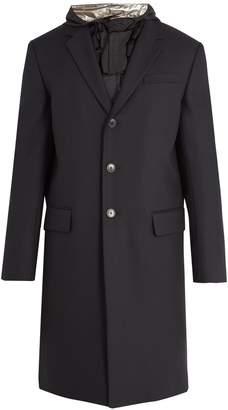 Valentino Contrast-hood single-breasted wool coat