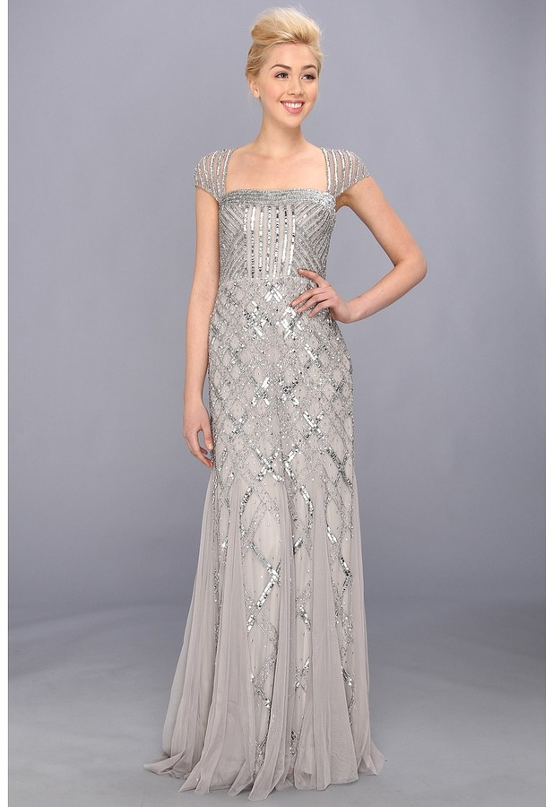 Adrianna Papell Cap Sleeve Bead Dress (Platinum) - Apparel