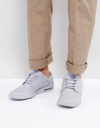 Nike Sb Stefan Janoski Max Leather Sneakers In Grey 685299-012