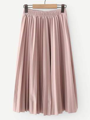 Shein Elastic Waist Solid Pleated Skirt