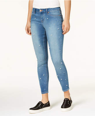 Rampage Juniors' Pearl-Embellished Skinny Jeans